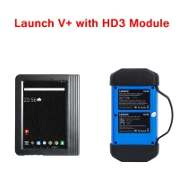 Launch X431 Pro3 V+ Global Version Launch X431 V+ 10.1inch Tablet with Launch X431 HD3 HD III Truck Module Ultimate Heavy Duty Adapter Work on both 12V & 24V Cars and Trucks