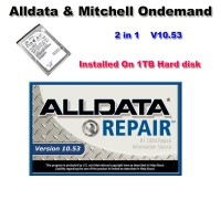 Alldata 10.53 External Hard Drive V10.53 Alldata And Mitchell Ondemand 2 in 1 Installed On 1TB Hard disk Ready To Use