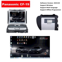 MB SD Connect Compact 4 Star Diagnosis With Panasonic CF19 Laptop Installed V2019.12 MB Star C4 Software Full Set Ready To Use