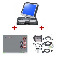 MB SD Connect Compact 4 Star Diagnosis With Panasonic CF19 Laptop Installed V2019.3 MB Star C4 Software Full Set Ready To Use
